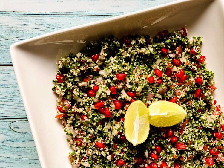Image of ServePlace the tabbouleh in a salad bowl or shallow dish...