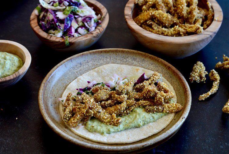 Image of Top your warmed tortilla with the coleslaw, fried oyster mushrooms,...